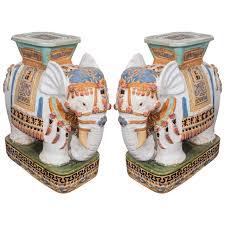 Porcelain Elephant Mid Century Pair Of Decorative Ceramic Elephant Garden Stools At