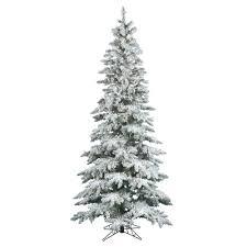 6 5 ft clear pre lit flocked slim utica fir artificial christmas tree