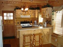 kitchen style natural wooden cabinet and peninsula with white