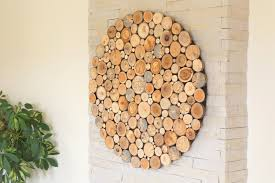 modern wall wood wooden wall wooden decor tree rounds