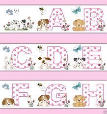 PUPPY ALPHABET WALLPAPER Border Wall Decals Girl Pink Dog Nursery - Kids room wallpaper borders