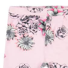 young versace girls pink and white leggings with floral sketches