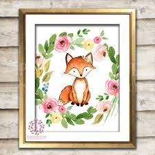 fox home decor fox woodland boho printable wall art print bohemian garden floral