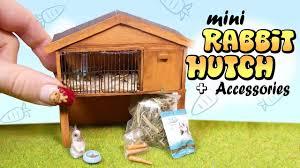 Make Rabbit Hutch Miniature Rabbit Hutch U0026 Accessories Tutorial Diy Bunny Cage