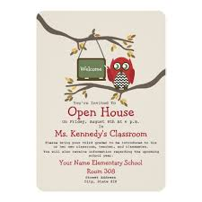 open house invitation owl back to school classroom open house invite zazzle