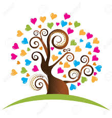 tree with ornaments and hearts logo royalty free cliparts vectors