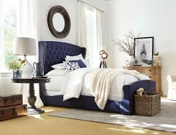 Tufted Headboard Footboard Naples Upholstered Bed Navy Blue Wrap Design Silhouette
