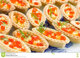 tartlets with red caviar cocktail party snacks with red caviar