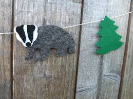 Woodland Animal Nursery Decor by Badger Garland Badger Bunting Felt Badger Badger Gift Badger