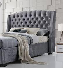 Crushed Velvet Bed Brando Wing Back Chesterfield Double Bed Frame 4ft6 135cm Grey