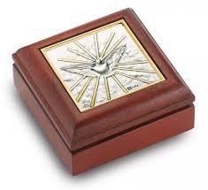 silver keepsake box holy spirit sterling silver and mahogany rosary keepsake box