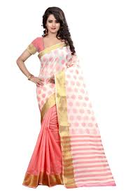 buy see more self designer peach color poly cotton saree with