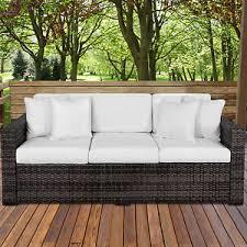 Ebay Wicker Patio Furniture Outdoor Wicker Patio Furniture Sofa 3 Seater Luxury Comfort Grey