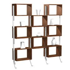 brown wooden shelves with block shape connected with white steel