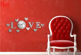 Diy Modern Home Decor Wedding Decor Clock Love Letters Home Decoration English 3d Mirror