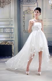 ball gown strapless flowers high low wedding dress tbdress com