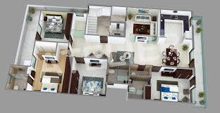 3d plan for a 4bhk residence at vivek vihar delhi planned as per