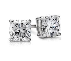 stud earing cushion diamond stud earrings in 14k white gold 1 ct tw blue