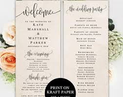 Sample Wedding Programs Templates Wedding Program Template Etsy