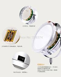 makeup mirrors led wall mounted extending folding double side led