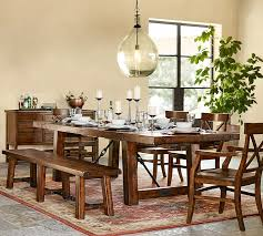 pottery barn farm dining table benchwright extending dining table alfresco brown dining cabin