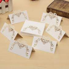 Table Place Cards by 50pcs Laser Cut Heart Hollow Out Paper Table Place Name Seat Card