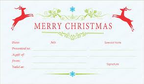 printable christmas gift vouchers reindeer christmas gift certificate template
