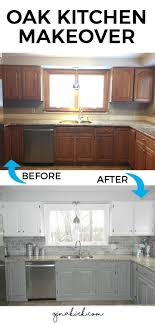painting oak kitchen cabinets white before and after our oak kitchen makeover subway tile backsplash white cabinets