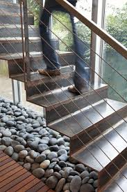 smart use of river stone inside the house under the staircase