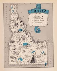 Idaho Counties Map Rare Antique Idaho Picture Map Fun 1930s Pictorial Map Of Idaho