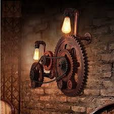 Vintage Wall Sconce Lighting Loft Style Industrial Creative Wood Gear Vintage Wall Light For