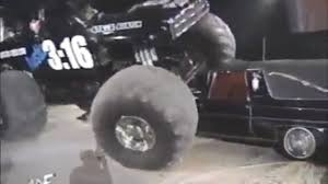 austin monster truck show wwe stone cold destroys the rock u0027s car with monster truck video