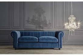 canapé velours bleu canapé bleu chesterfield en velours moderne vical home