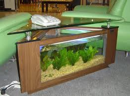 triangle table design of the fish tank desk that used wooden and