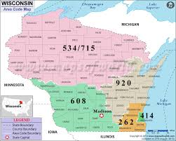 map of area codes wisconsin area codes map of wisconsin area codes
