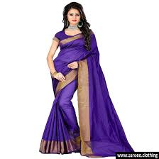 purple colour new designer gold zari patto cotton silk saree