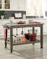 rustic kitchen islands and carts scott living 100527 rustic industrial metal wood kitchen island