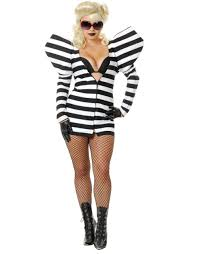 inmate halloween costume womens black and white gaga lady prison telephone costume
