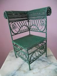 antique wicker style metal miniature doll teddy bear corner chair