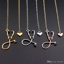 rose silver necklace images Wholesale i love you heart stethoscope necklace silver rose gold jpg