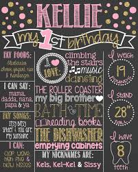 1st birthday chalkboard pink and gold glitter birthday chalkboard poster girl 1st