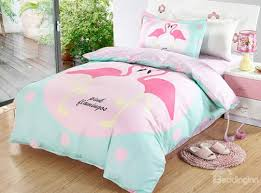 Duvet 100 Cotton Bright Flamingo Couple Pattern 3 Pieces 100 Cotton Duvet Cover