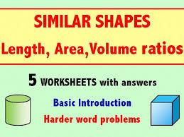 similar shapes length area volume ratios by skillsheets
