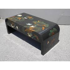 Two Drawer Coffee Table Vintage Black Lacquered Chinoiserie Asian Floral Design Two Drawer