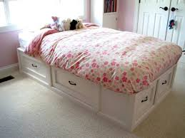 diy white wooden full size bed with drawers 728x546 jpg