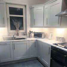 grey kitchen cabinets b q transforms dated boring kitchen into a mrs hinch