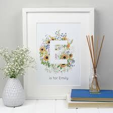 personal name print floral alphabet letter zoeprose monogram personalised floral alphabet wall art