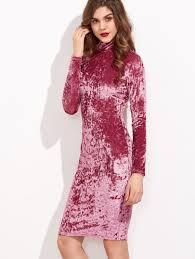 pink high neck long sleeve crushed velvet pencil dress shein