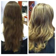 before and after virgin hair to heavy highlights with trim and