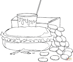 sandwich and sweet soda coloring page free printable coloring pages